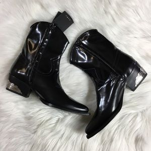 44bb72d7705 NWT Zara Ankle Leather Cowboy Boots Size 6.5 (37) NWT